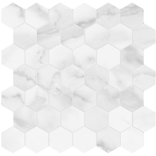 Plata Statuario Brina Polished Porcelain 2 in. Hexagon Mosaic (4501-0411-0)