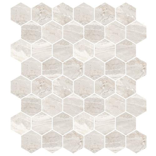 Marbles Oniciata Ivory Matte Hexagon Mosaic on 9x11 Sheet (1102371)