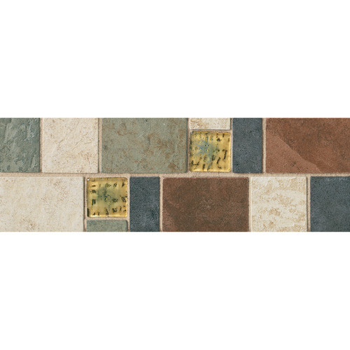 """Continental Slate - 4X12 Decorative with 2"""" Glass Insert"""