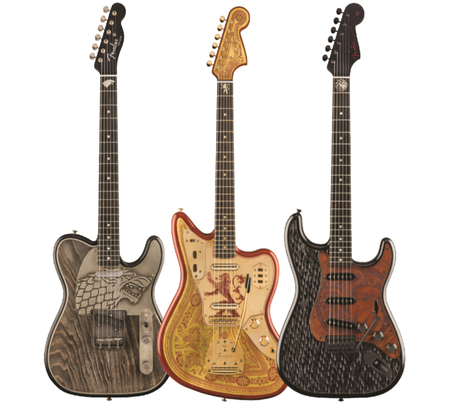 Fender Custom Shop Game of Throne Sigil Collection House Stark Telecaster - House Lannister Jaguar - House Targaryen Stratocaster