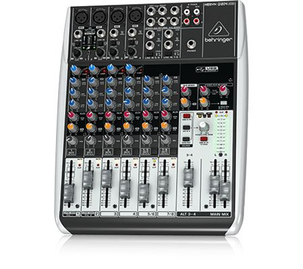 Behringer Premium 12-Input 2/2-Bus Mixer with XENYX Mic Preamps & Compressors, Wireless Option and USB/Audio Interface - Q1204USB