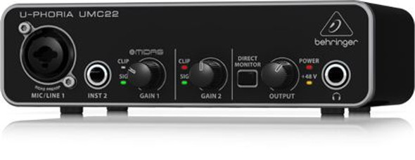 Behringer 2x2 USB Audio Interface with MIDAS Mic Preamplifier