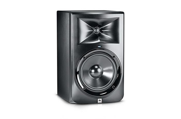 JBL LSR308 8-inch two-way powered studio monitor.