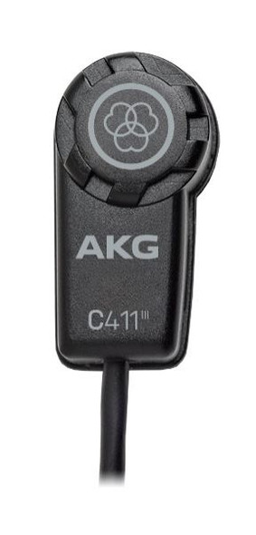 AKG C411 PP High performance miniature condenser vibration pickup microphone for acoustic guitar and other string instruments on stage and in the studio with MPAV standard XLR connector