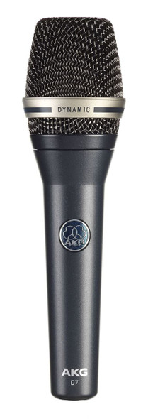 AKG D7 Reference Dynamic Vocal Microphone for demanding lead vocals; powerful sound for professionals