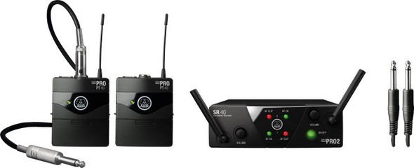 AKG WMS40 Mini2 Mix US45A Vocal/Instrument system includes: 1 x SR40 Dual Mini Receiver; 1 x HT40 Mini Handheld transmitter; 1 x PT40 Mini Body-pack transmitter;1 x MKG L Instrument cable;1 x Universal power supply - Frq: 660.700 /662.300MHz