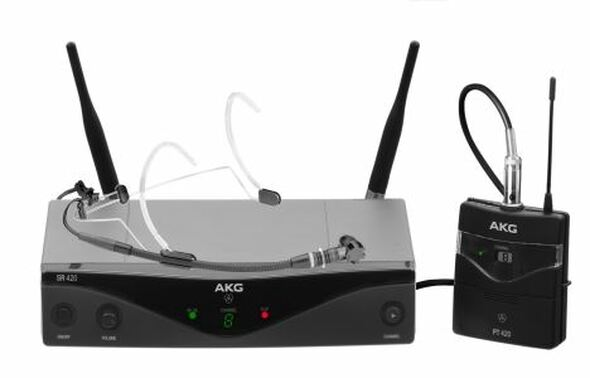 AKG WMS420 HEADWORN (A) Wireless microphone system -includes: 1 x SR 420 stationary receiver,  1 x PT 420 pocket transmitter and C555L condenser headworn microphone.  Frq: 530.025 - 559.000MHz