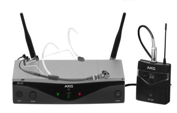 AKG WMS420 HEADWORN (U2) Wireless microphone system  -  includes: 1 x SR 420 stationary receiver,  1 x PT 420 pocket transmitter and C555L condenser headworn microphone.  Frq: 614.100 - 629.900MHz