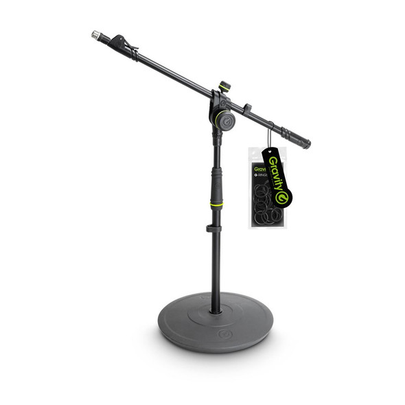 Gravity MS 2222 B - Short Microphone Stand with Round Base and 2-Point Adjustment Telescoping Boom
