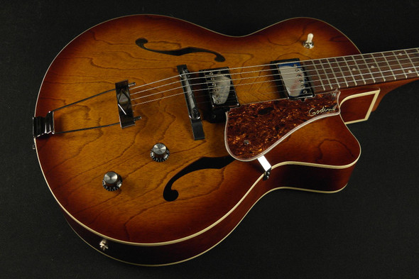 Godin 5th Avenue Cutaway KingpPin II HB - Cognac Burst Includes TRIC Deluxe Case Arch Top - 39289 - 954