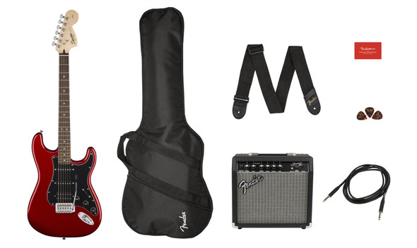 Squier by Fender by Fender Affinity Series Stratocaster HSS Pack - Laurel Fingerboard - Candy Apple Red - Gig Bag - 15G - 120V (371824009)