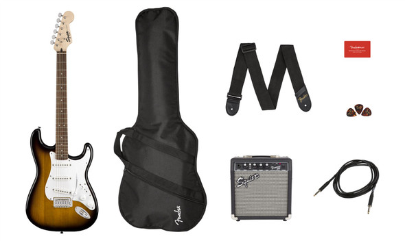 Squier by Fender by Fender Stratocaster Pack - Laurel Fingerboard - Brown Sunburst - Gig Bag - 10G - 120V (371823032)