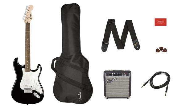 Squier by Fender by Fender Stratocaster Pack - Laurel Fingerboard - Black - Gig Bag - 10G - 120V (371823006)