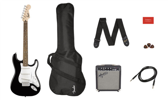 Squier by Fender by Fender Stratocaster Pack - Laurel Fingerboard - Black - Gig Bag - 10G - 120V (371823006)