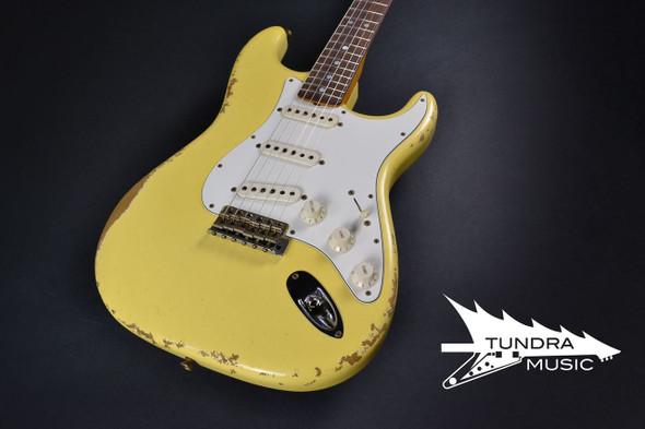 Fender Custom Shop '69 Stratocaster Reverse Peg Heavy Relic - Aged Vintage White 019
