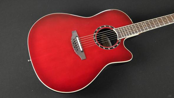 Ovation 1861 AX Standard Balladeer Super Shallow Acoustic Electric Guitar, Cherry Cherry Burst (076)
