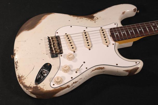 Fender Custom Shop 1969 Reverse Headstock Stratocaster Heavy Relic - Aged Olympic White (098)