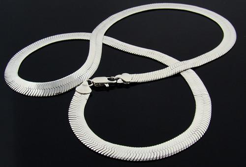 Wholesale Herringbone Chain : 24 Inch : Rhodium Plated