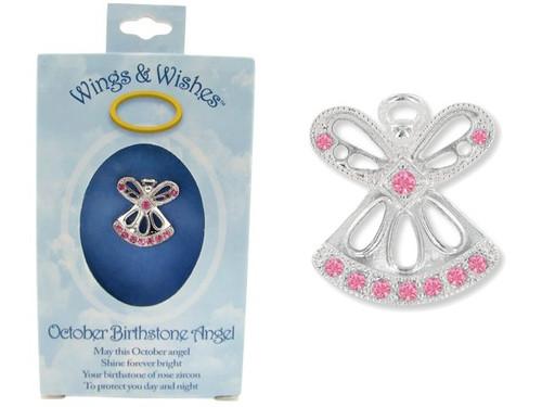 October Birthstone Angel Pin