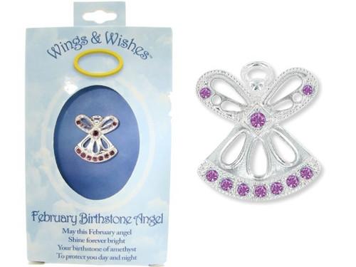 February Birthstone Angel Pin