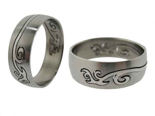Laser Cut Wave Stainless Steel Ring