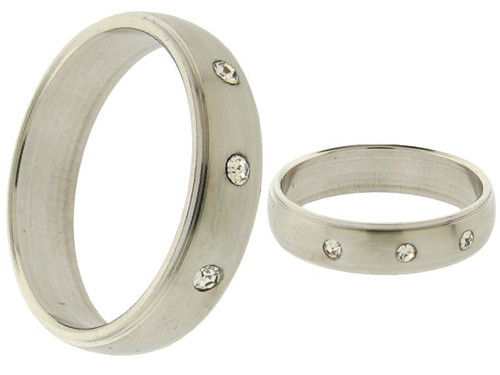 3 CZ Stone Stainless Steel Rings