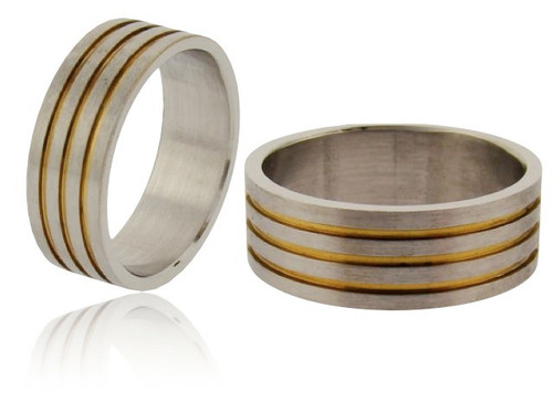 Wholesale Stainless Steel Ring : Gold Stripe