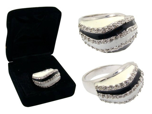 Swirl Enamel Ring with CZ Accents