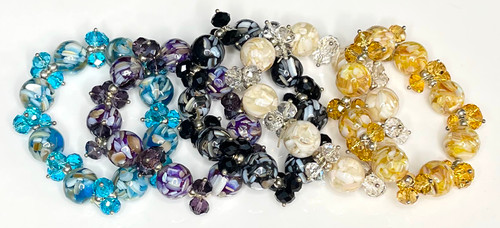 Wholesale Crystal Bead Bracelets : Shell Accents : 5 Colors