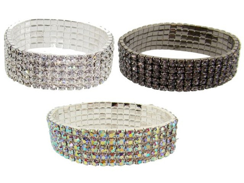 Austrian Crystal Stretch Bracelet : 5 Row