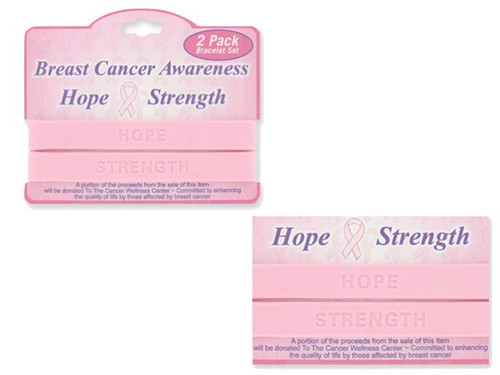 2 PC Breast Cancer Awareness Hope & Strength Bracelets