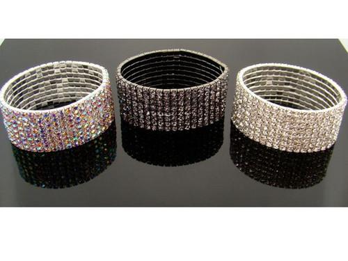 Austrian Crystal Stretch Bracelet : 8 Row