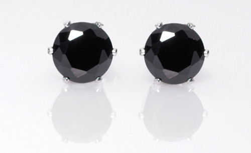 CZ Stud Earrings : Black Diamond : 8CTW