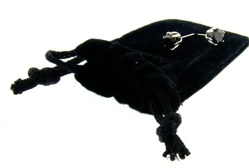 CZ Stud Earrings : Black Diamond : 2CTW
