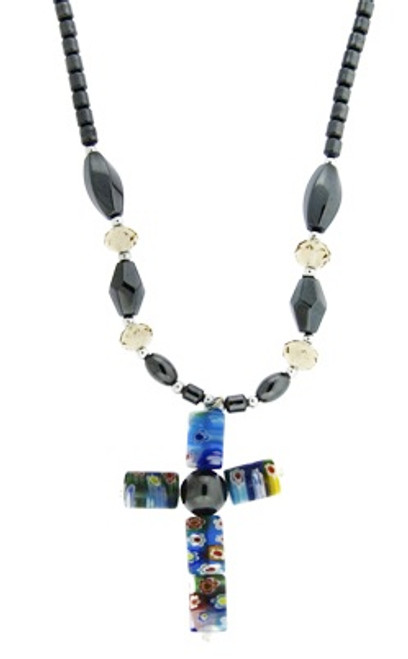 Hematite Necklace : Cross