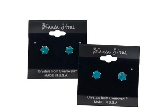 Swarovski Crystal Elements Stud Earrings : Emerald