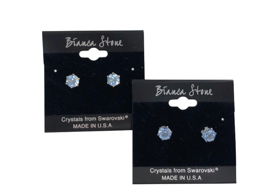 Swarovski Crystal Elements Stud Earrings : Light Sapphire