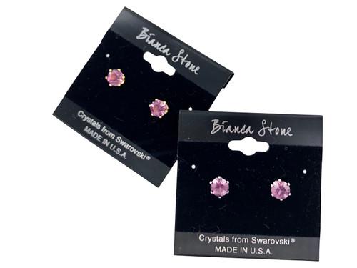 Swarovski Crystal Elements Stud Earrings : Amethyst