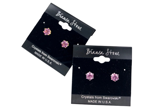 Swarovski Crystal Elements Stud Earrings : Amethyst