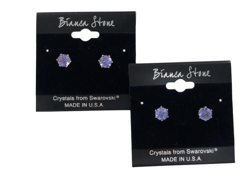 Swarovski Crystal Elements Stud Earrings : Tanzanite