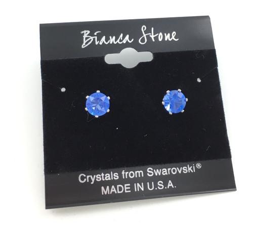Swarovski Crystal Elements Stud Earrings : Sapphire