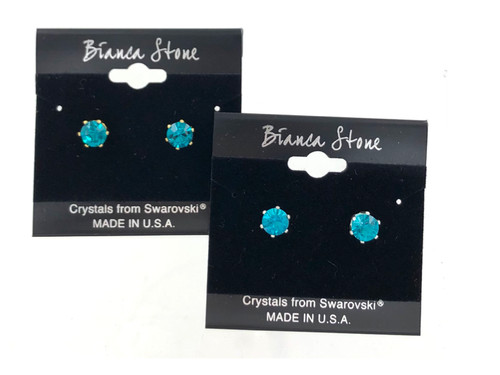 Swarovski Crystal Elements Stud Earrings : Blue Zircon