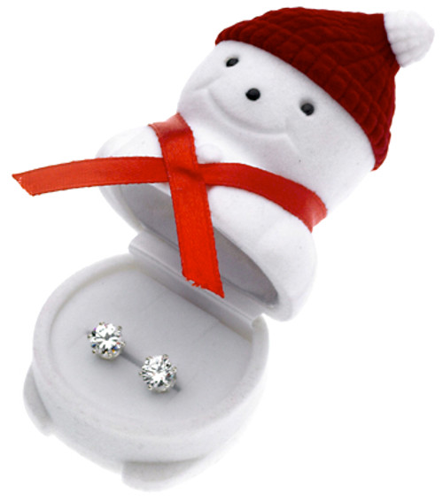 CZ Stud Earrings in Snowman Gift Box Wholesale