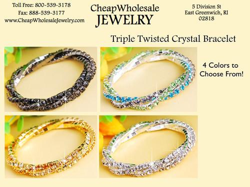 Austrian Crystal Stretch Bracelet : Triple Twisted