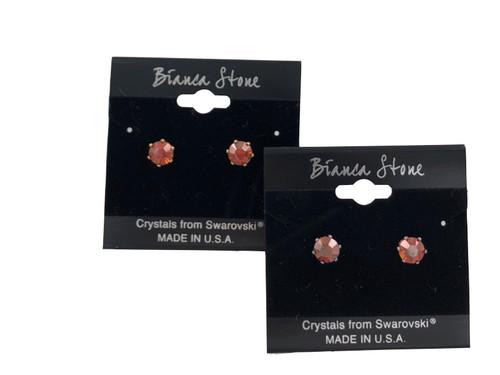 Swarovski Crystal Elements Stud Earrings : Crystal Red Magma