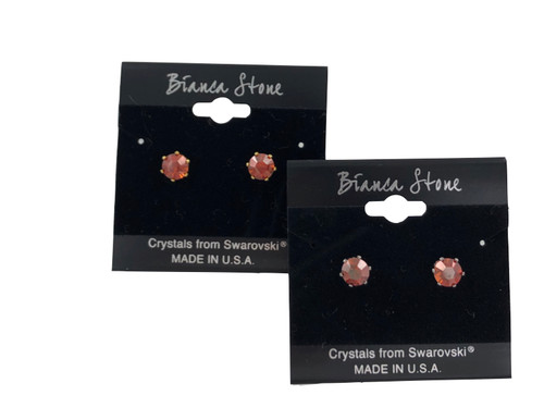 Swarovski Crystal Elements Stud Earrings : Crystal Red Magma