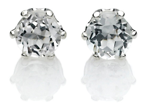 Genuine White Topaz Earrings