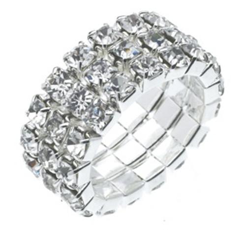 Austrian Crystal Stretch Ring : 3 Row