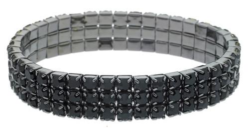 Austrian Crystal Stretch Bracelet : 3 Row