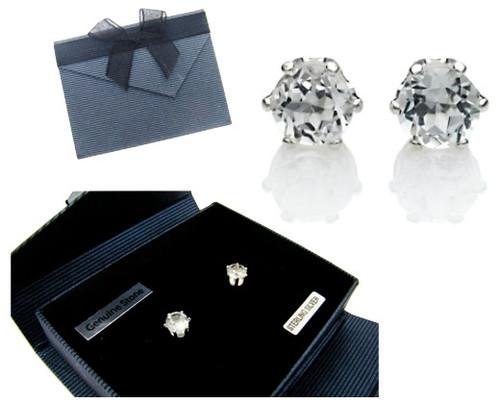 Genuine White Topaz Earrings in Sterling Silver